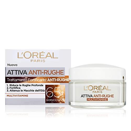 L'Oréal Paris Crema Viso Giorno e Notte Attiva Anti-Rughe, Trattamento Fortificante 65+ con Multivitamine, Adatto a Pelli Mature, 50 ml