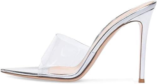 YT-ER Sandalias de Moda Puntas Afiladas Delgadas Tacones Altos Sandalias de Leopardo para mujeres Tacones Altos, blancoo, 41