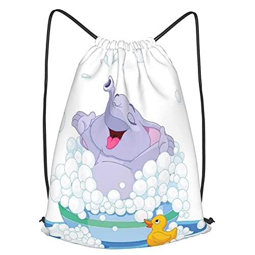 Mochila Con Cordones Unisex,Elefante toma baño de burbujas en el lavabo con juegos de agua de pato Impresión,Bolso con Cordón Impermeable para Nadar/Surfear/Viajar/Hacer Senderismo/Yoga/Deportes