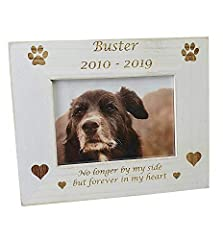 """🐶 PERSONALISED VINTAGE WHITE WASH DOG PHOTO FRAME 4X6"""" PHOTO 🐶 DOG PERSONALISED PHOTO FRAME - This top quality photo frame makes a lovely dog memory frame and is lovely displayed in any room Frame Size 21x17cm 🐶 DOG PHOTO FRAME- Please leave the full..."""
