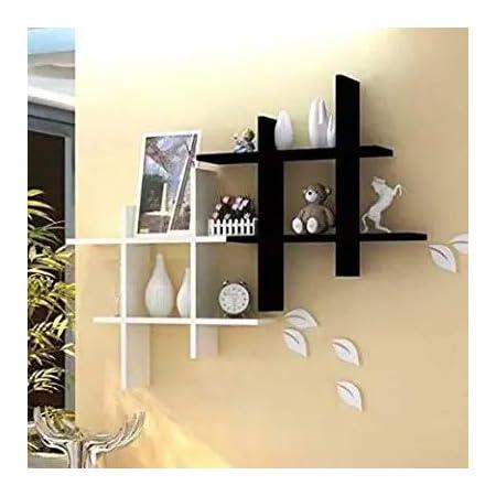 SAW SAQIB ALI WOODEN HANDICRAFTS Wooden MDF-Medium Density Fiber Home Decoration Wall Rack Shelves (4 x 16 x 16 Inches, Black and White) Set of 2