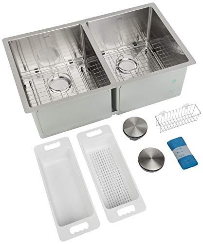 ZUHNE 32 Inch Double Bowl 16 Gauge Stainless Undermount Kitchen Sink