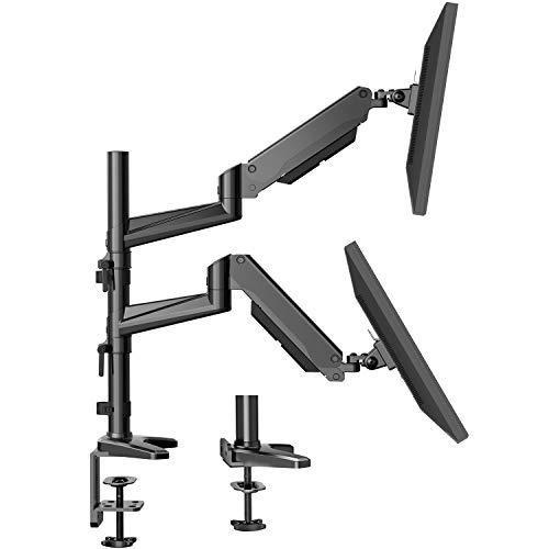 HUANUO モニターアーム 2画面 デュアル ディスプレイアーム ガススプリング式 17~32インチ対応 耐荷重1-8kg グロメット式&クランプ式 VESA100*100