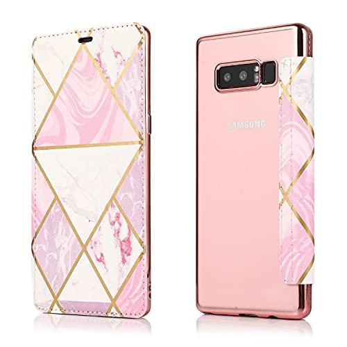 MOONCASE Capa para Galaxy Note 8, TPU de Galvanoplastia Capa Traseira Transparente Cobertura Total de Proteção com Suporte Capa para Samsung Galaxy Note 8 (Pink)