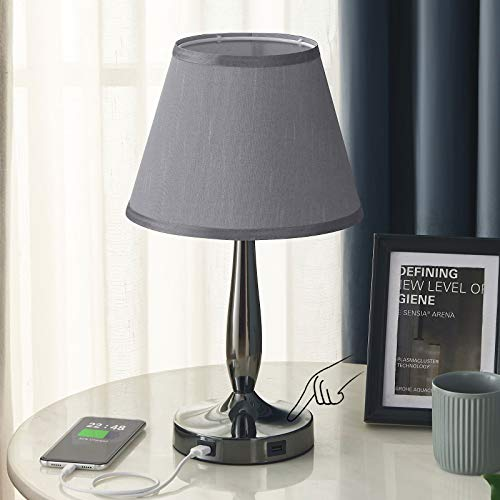 Grey Touch Table Lamp, Aooshine Bedside Lamp with 2 Fast Charging USB Ports, 3-Way Dimmable Lamp with Trapezoidal Lampshade, Modern Touch Lamps for Bedroom, Office, Reading Room (LED Bulb Included)