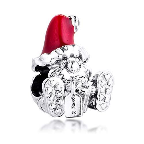 MOCCI Abalorio de Navidad de invierno de 2020 con diseño de Papá Noel sentado y regalo de plata 925, compatible con pulseras Pandora originales
