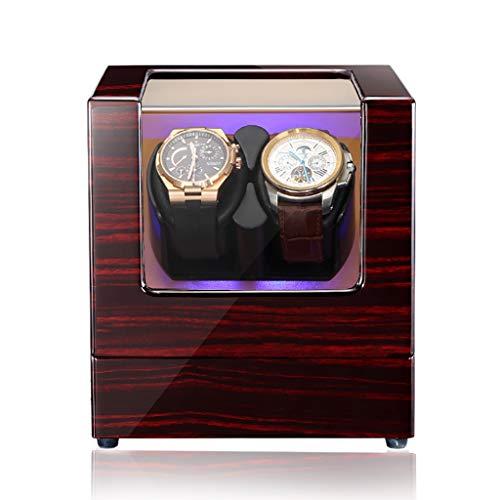 Watch Winder Rotador automático de lujo para reloj giratorio con caja de exhibición de caja de almacenamiento de relojes de cuero 2 + 0, pintura de piano de madera maciza - lámpara LED de ambiente
