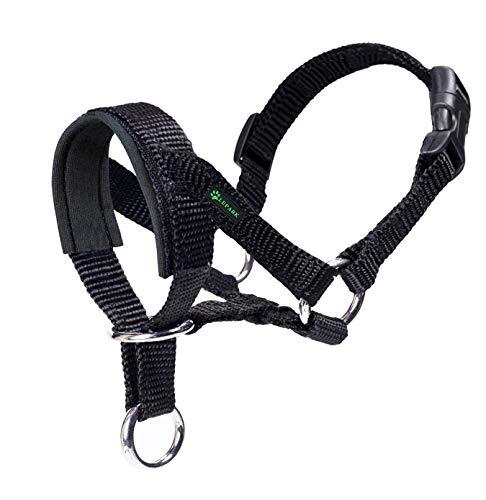 ILEPARK Cuello De Cabeza para Perros con Tela Acolchada, Cabestro de Cabeza para Perros, Regolabile Herramienta de Entrenamiento (S,Negro)