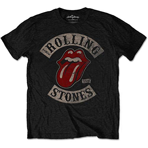Rolling Stones hombre Tour 78 Tongue Camiseta X-Large Negro