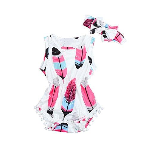 Longra combinaties en romper baby meisjes overall rompler + haarband voor baby kinderen meisjes zonder mouwen uit veren