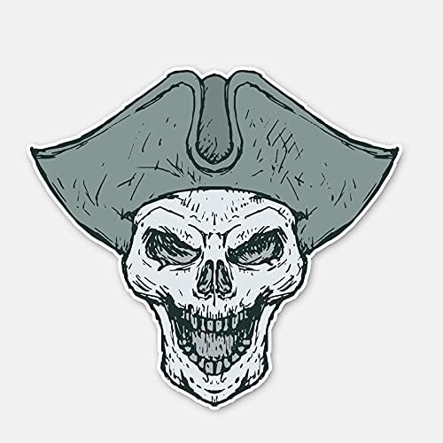 YLZH Etiqueta engomada del coche del color 13.7CM* 12.5CM Personalidad Funny Pirata Cráneo Cabeza de la Motocicleta Cuerpo Coche Pegatina Calcomanía 6-2855 Logo Sticker