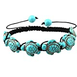 Comelyjewel Premium Quality Bohemian Turquoise Turtle Bracelet Hand Knit Bracelet for Women Girls