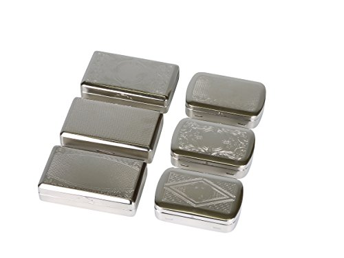 2 x Zigaretten Tabakdose Crome Silber Dose für Selberdreher Metalldose mit Papierfach, unterschiedliche Motive