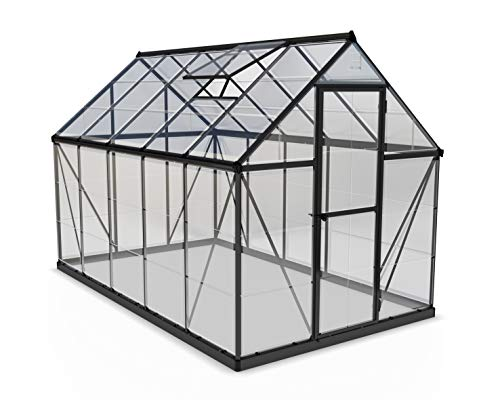 Palram Harmony Greenhouse - Clear Polycarbonate, Aluminum Frame, Base Included - Grey 6x10ft