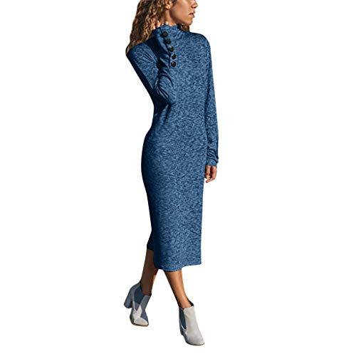 Manadlian Robe Hiver Col Haut -Robe Longue Femme Manche Longue - Robe Boutonnée de Couleur Unie Robe de Soirée