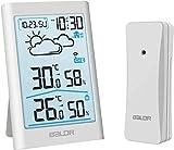BALDR Station météo radio avec capteur externe, thermomètre numérique hygromètre intérieur et extérieur Thermomètre d'ambiance hydromètre avec prévisions météorologiques, affichage de l'heure