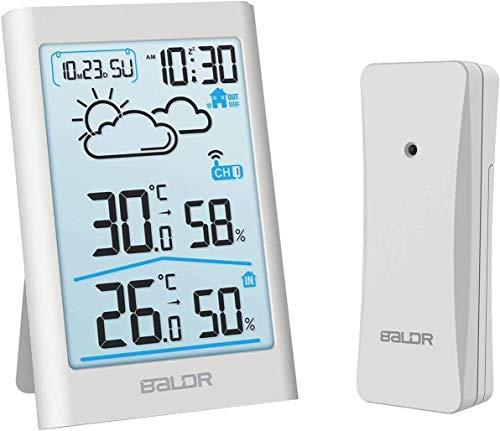 BALDR Wetterstation Funk mit Außensensor, Digital Thermometer Hygrometer Innen und Außen Raumthermometer Hydrometer Feuchtigkeit mit Wettervorhersage, Uhrzeitanzeige, Wecker (Weiß-1)