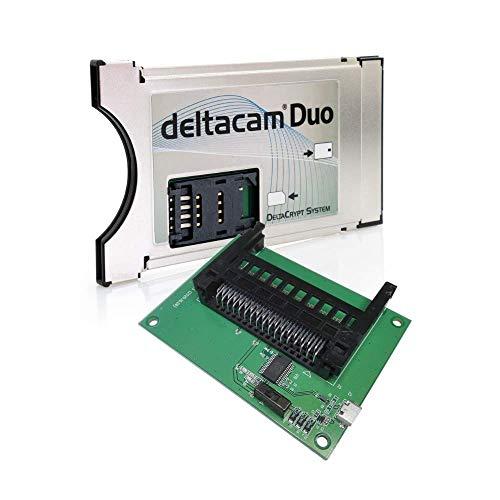 Deltacam Duo Twin CI Modul + Unicam Duo Programmer I Common Interface mit DeltaCrypt-Verschlüsselung 3.0 für Empfang verschlüsselter Sender I DVB CI-konforme PCMCIA CI-CAM für Smart Cards TV