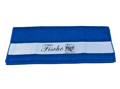 Badetuch Duschtuch Handtuch mit Sternzeichen Fische Bedruckt 50x100cm oder 70x140cm (Handtuch 50x100cm, Royalblau)