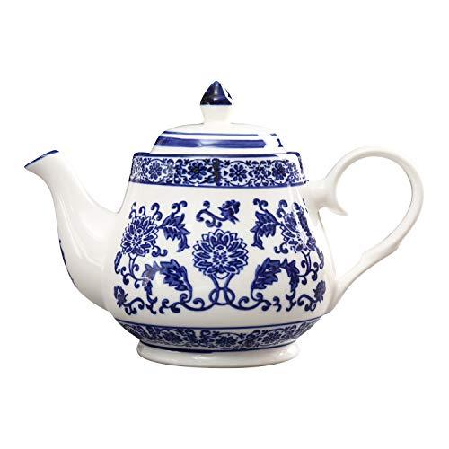 ufengke 22oz Tetera de Porcelana Azul y Blanca,Tetera de Cerámica para el Té de Kungfu,Cafetera De Cerámica Azul Flores