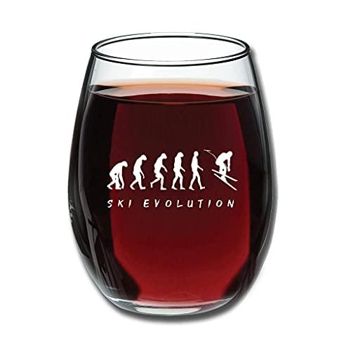 BTJC88 Stemless Ski Evolution - Copas de vino con grabado, regalo especial para San Valentín, 350 ml, color blanco