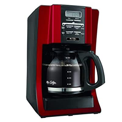 Mr. Coffee 12-Cup Coffee Maker, Black (Red)