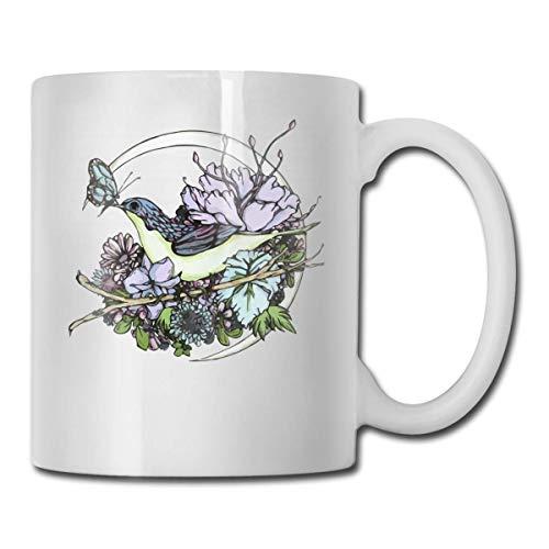 Pájaro y mariposa Luna Taza de café divertida Taza de té, Ideas novedosas para regalos de cumpleaños para hombres, mujeres y amigos 11oz