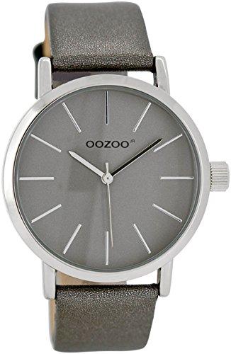 Oozoo Damen-/ Kinderuhr JR279 silbergrau 40 mm - Lederband