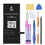 LL TRADER Batería para iPhone 5s/5c 1800 mAh, Reemplazo de Alta Capacidad Batería con 15% más de Capacidad y Herraminetas de Reparación, Cinta Adhesiva