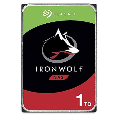 """Seagate IronWolf, 1 TB, Hard Disk SATA da 6 GBit/s, HDD, CMR 3,5"""" 5.900 RPM, Cache da 64 MB per NAS con Sistema RAID, Pacchetto di Facile Apertura, 3 anni di servizi Rescue (ST1000VNZ02)"""