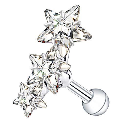 ThrowBackAnnie | Star Gazer Triple Gem Helix Piercing | Curved Cartilage Earring Star Conch Stud Silver Pinna Piercing | Stay Sassy This Season
