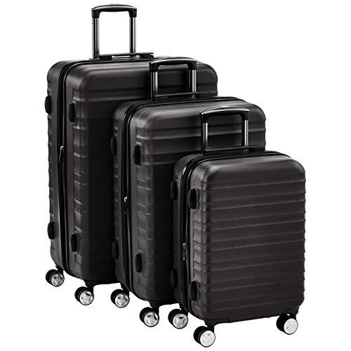 AmazonBasics  - Juego de 3 maletas rígidas giratorias negras prémium