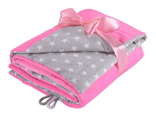 EliMeli Babydecke Kuscheldecke Krabbeldecke 75x100 super weichem Minky Polar Fleece   100% Baumwolle   Füllung   hoch Qualität   Plüschdecke perfekt für Babys (Pink - White Stars)