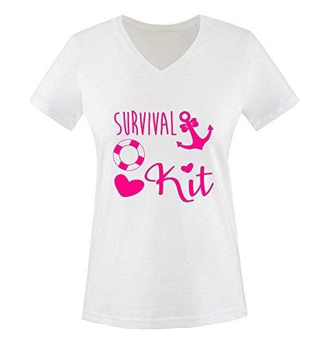 Comedy Shirts - Survival kit Anker - Damen V-Neck T-Shirt - Weiss/Pink Gr. XL