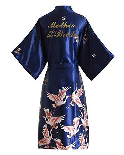 YAOMEI Novia Mujer Vestido Kimono Satén, Camisón para Mujer Bata de baño Robe Albornoz Dama de Honor Ropa de Dormir Pijama Flores de Grua Real (Ancho del Busto: 126 cm, Armada-Mother of Bride)