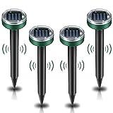 ELLASSAY Ultrasonic Mole Repellent Solar Powered 4 Pack Sonic Mole Deterrent Spikes,Snake Gopher Vole Repellent for Lawn Garden & Yard,Gopher Deterrent,Groundhog Repeller