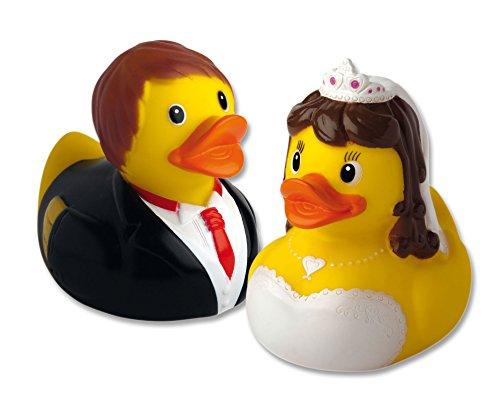 2er Set Quietsche-Enten 'Brautpaar'