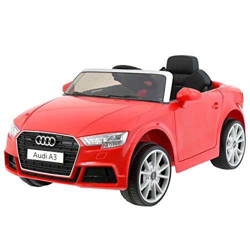 Uenjoy Licensed Audi A3 12V Kids Ride On Car Electric Cars, Single-Seater, 2.4G Remote Control, LED, Music, Horn, Battery Car, Auxiliary Wheels, for Children Aged 3-8, Red