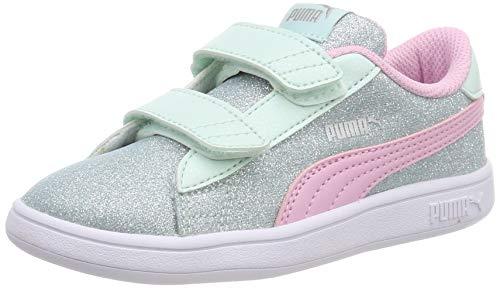 Puma Baby Mädchen Smash V2 Glitz Glam V Inf Sneaker, Blau (Fair Aqua-Pale Pink-Puma Silver-Puma White), 21 EU