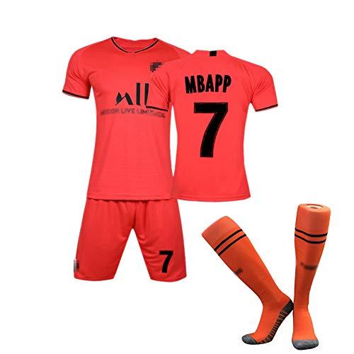 Student Fußball Sportanzug Erwachsenen Match Trainingsanzug Frankreich auswärts Paris Team Mbappé Nr. 7 Cavani Nr. 9 Saison Fan Trikot + Shorts + Socken atmungsaktiv schnell trocknend-Red9-M