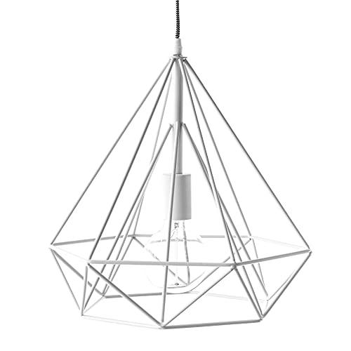 Kenay Home Diamante Lámpara de Techo Colgante Dormitorio Vintage Blanco Facet, 4x34x53, 5 cm (LargoxAnchoxAlto)