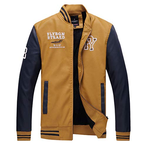 BaZhaHei Uomo Top,Uomo/Signori/Ragazzi PU Pelle College Baseball Jacket Felpa Motociclista Giacca Giubbotto Manica Lunga Jacket Top (Yellow 1, M)