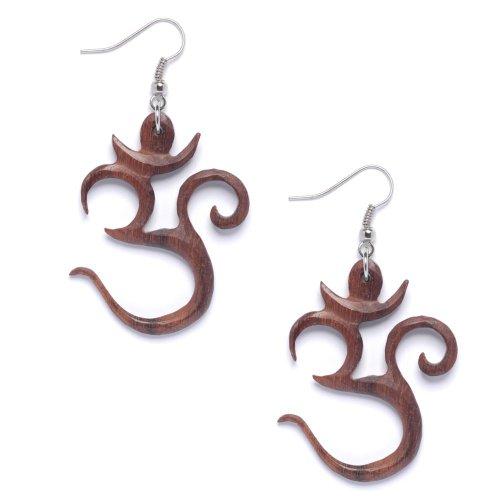81stgeneration Sterling Silber .925 Holz Ohrringe baumeln OM Aum indischen Brown Französisch Haken