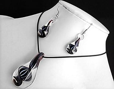 Ecloud Shop® Negro-Gotas en Forma de Collar de Murano Pendientes de Cristal de Murano Colgante