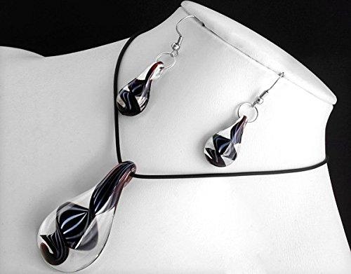Ecloud Shop® Schwarze Tropfen förmige Murano Glas Anhänger Halskette Ohrringe
