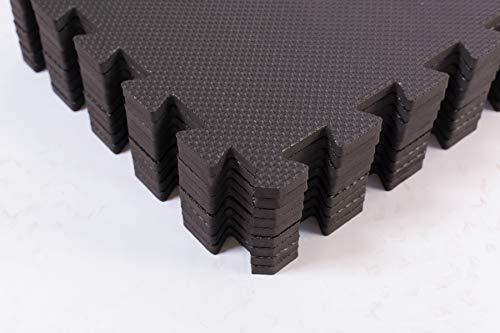 BodenMax Schutzmatten mit Randstücken 30x30cm, 1cm für Boden |Fitness | Unterlegmatten | Fitnessmatten für Bodenschutz – Sport, Fitnessraum, Keller, 10mm, Schwarz, 18 Stück