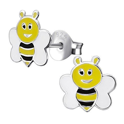 Laimons Mädchen Kids Kinder-Ohrstecker Ohrringe Kinderschmuck Biene 8 mm schwarz,weiß,gelb Sterling Silber 925