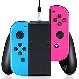 Likorlove Estación de carga para Nintendo Switch Joy Con Charging Grip Soporte de Carga Joy-Con Mando Cargador Batería de Litio Recargable de 2000 mAh con Indicador LED Cargador Controlador Joycon