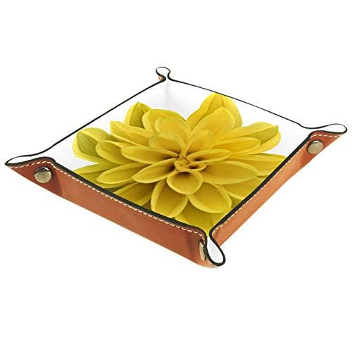 YATELI Kleine Aufbewahrungsbox,Herren-Valet-Tablett,Gelbe isolierte Blume,Leder Catchall Organizer für Coin Box Key Schmuck