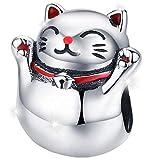 Maria Fonte - Colgante de Abalorios en Forma de Gato Amuleto japonés de la Suerte (Maneki Neko) en Plata de Ley 925, Compatible con Las Marcas más Populares de Pulseras y Collares.